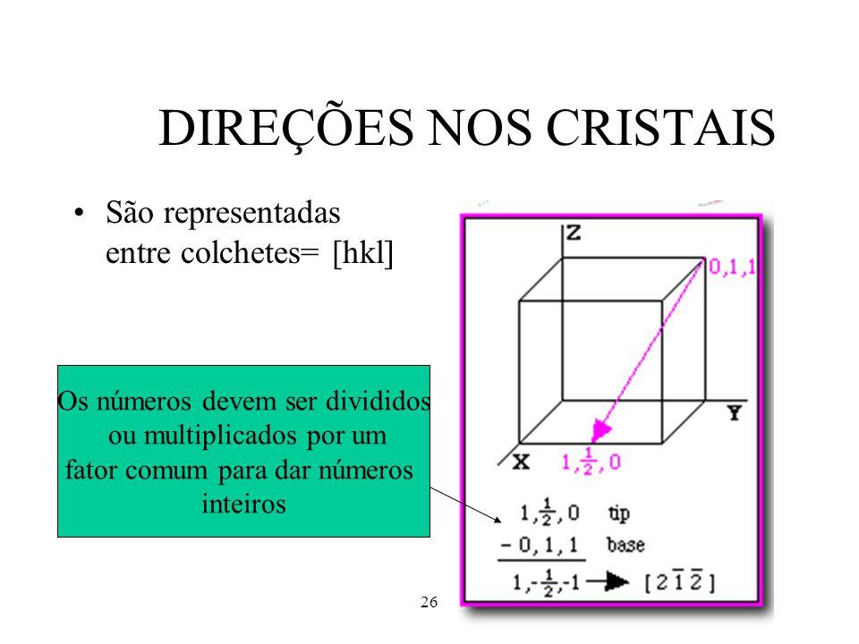 DIREÇÕES NOS CRISTAIS São representadas entre colchetes= [hkl]
